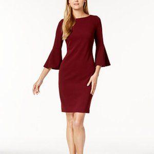 Calvin Klein Burgundy Bell Sleeve Boat Neck Sheath Dress